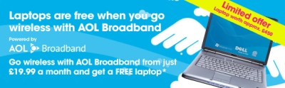 AOL Broadband free laptop