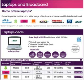 Mobile Broadband With Free Laptop At The Carphone Warehouse